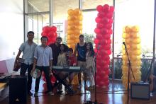 Artists and musicians during Student Art Showcase