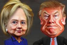 Clinton Trump caricatures