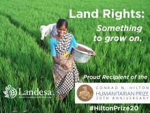 Woman tending land with Landesa support
