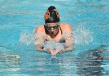 Claire Bacon-Brenes swims in a recent meet against Pomona-Pitzer.