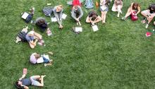 students on lawn studying