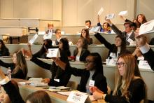High school student delegates take part in the McKennaMUN Conference.