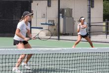 CMS women's tennis players Lindsay Brown and Nicole Tan