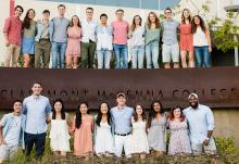 2017-18 CMC resident assistants in front of Roberts Pavilion