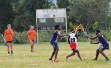 Lacrosse practice in Uganda