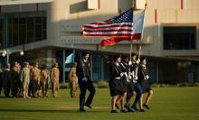 CMC ROTC flag bearers at celebration
