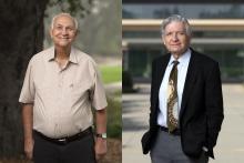 Professors Massoud and Warner on campus