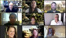 A 3x3 Zoom grid of CMC staff and faculty participating in Spring Family Connection