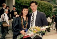 Emily Cotter '95 in her cap and gown with brother Erik Chan '92 at her CMC commencement