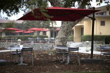 A view of outdoor seating on campus