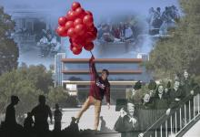Photo collage of campus life and history