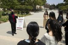 Prospective students get a tour on campus
