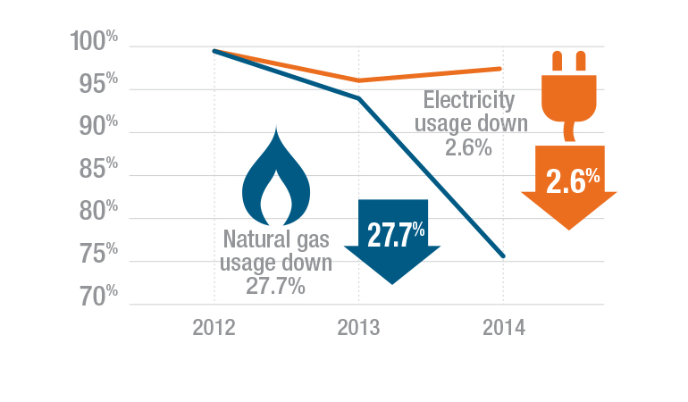 Graphic showing reductions in graphics and electricity usage