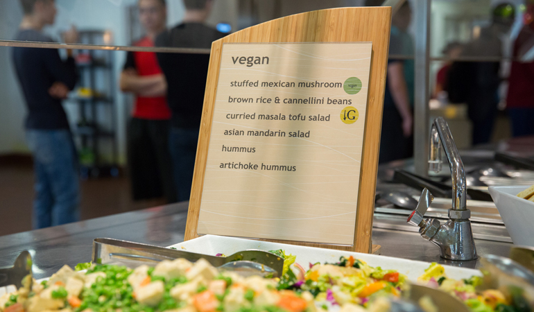 Vegan menu at Collins Dining Hall